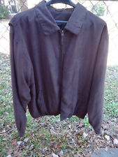 Men's Harbor Bay Brown Faux Suede Zip Front Jacket Lined Size: XLT Snap Cuff