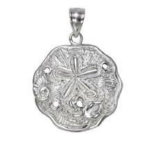 Sterling Silver CRAB ON THE SAND DOLLAR Pendant / Charm, Made in USA
