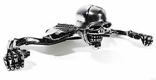 "Chrome Skull Skeleton Headlight Visor Ornament Harley 7"" medallion"