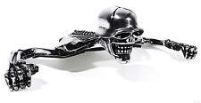 """Chrome Skull Skeleton Headlight Visor Ornament Harley 7"""" medallion"""