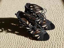 Black Strappy Lace Up Heels  - Size 7.5W