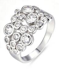 925 Sterling Silver Bezel Set CZ Celebration Cocktail Ring Band Size 9 SE5145