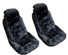 2x Black Authentic Sheep Skin Front Seat Covers - Genuine Plush Sheepskin HS1