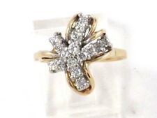 Cluster Right Hand Ring .80ct 14k Yellow Gold Round Diamond