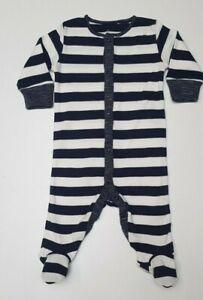 Baby boys sleepsuit babygrow NXT cotton first size 0 3 6  9 12 navy wide stripe