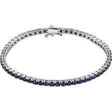 Blue Sapphire Tennis Bracelet In 14K White Gold