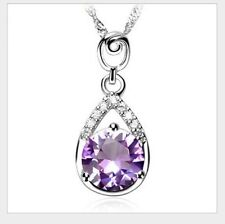 925 Sterling Silver PURPLE Amethyst Heart Cut Pendant Necklace w Chain GIFT L24