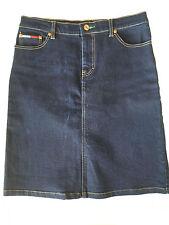 Tommy Hilfiger Logo Stretch Denim Skirt, Dark Blue Jean, Womens Size 9 / 10, VGC