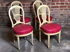 """Chaises (série de 4) en bois sculpté patiné beige, décor dit """"A la gerbe"""" XX eme"""