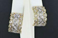 0.75 Ct Round Inside-Outside Diamond Curved Hoop Earrings 14k White Gold GP Gift