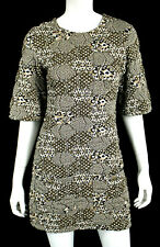 CHANEL $3,270 15C White, Black, & Gold Geometric Print Patchwork Mini Dress 38