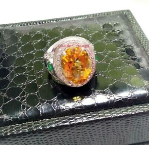 Natural Citrine Emerald & CZ Gemstone With 925 Sterling Silver Ring For Men's