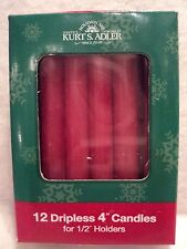 """KSA 4"""" RED Dripless Candles For 1/2"""" Holders ~ SET OF 12 ~ MIB"""