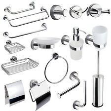 MODERN Set Bathroom Accessories Stainless Steel Glass Self Adhesive or Drilling