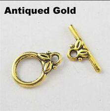 Hot Sell 20Set Tibet Silver,Gold,Bronze Smooth Ring Leaf Connector Toggle Clasps