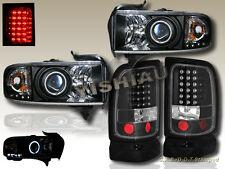 94-01 Dodge Ram CCFL Halo Projector Headlights Black & LED Black Tail lights 98