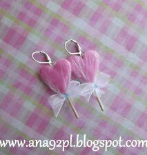 Christmas earrings lollipop heart fimo clay earrings bow handmade GIFT new