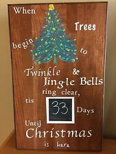 Christmas Countdown Chalkboard Tree Twinkle, Jingle Bell Wood Sign