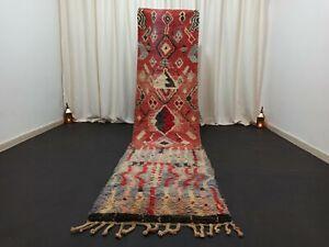 "Tribal Boujad Moroccan Runner Rug 2'6""x 10'6"" Berber Vintage Handmade Carpet"