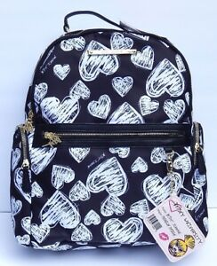 BETSEY JOHNSON HEART PRINTED BLACK/WHITE BACKPACK & CARD HOLDER AUTHENTIC NEW