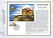 FEUILLET CEF / DOCUMENT PHILATELIQUE / SAINTONGE ROMANE  EGLISE DE TALMONT 1985