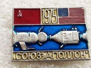 Vintage Pin Badges Soyuz-Apollo,Space Flight USSR-USA,Soviet Space Program,USSR