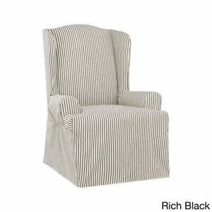 Sure Fit Ticking Stripe Wing Chair Slipcover BLACK NEW