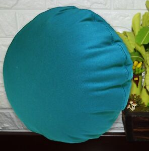 PL22n Turquoise Blue Canvas Water Proof Outdoor Round Shape Cushion Cover Custom