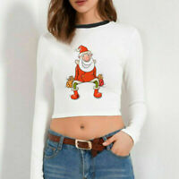 Xmas Women Crop Top Christmas Santa Claus Printing Casual T-Shirt Tops Tee Shirt