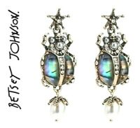 US Seller Betsey Johnson Pearl Alloy Rhinestones Insect Dangle earrings jewelry