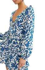 Free People | Rebecca Floral-Print Ruffled Dress | Blue | M