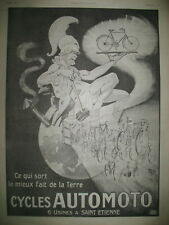 PUBLICITE DE PRESSE AUTOMOTO CYCLES ST ETIENNE ILLUSTRATION MICH FRENCH AD 1920