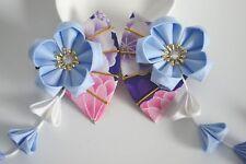 Girl's Handmade Japanese Wedding Hair Clip Blue Sakura Fan Pin Kanzashi  1pc