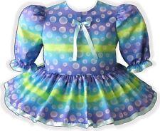 "47"" Pretty Polka Dots Blue Ribbon Adult Little Girl Baby Sissy Dress LEANNE"