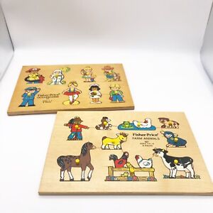 Vintage 1970s Fisher Price Peg Wood Puzzles Farm Animals 507 And Occupations 503