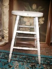 Tall 1880s Antique Victorian White Wood Stool Farm Orig Milk Paint 24""