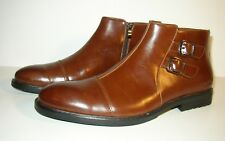 Henry Ferrera Brown Faux Leather Buckle Ankle Boots SZ Mens 12 Zip Barely Worn