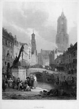 HOLLAND Netherlands GOTHIC DOM TOWER Domtoren UTRECHT ~ 1853 Art Print Engraving