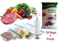 23 PCS Food Storage Vacuum Seal Storage Bags with Hand Pump Sous Vide BPA Free