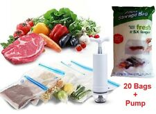 23 PCS Food Storage Vacuum Seal Storage Bags with Hand Pump Sous Vide BPA Free