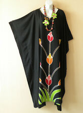 Black Summer Batik Kaftan Abaya Batwing Maternity Poncho Maxi Dress - 2X to 5X