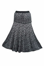 WOMEN'S MAXI SKIRTS BLACK PEASANT TIERED PRINTED HIPPIE BOHO LONG SUMMER SKIRT