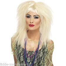 Womens 80's Crimp Blonde Wig Layered Fringe Hen Disco Fun Fancy Dress Punk Rock