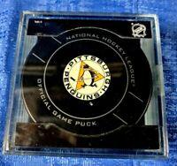 NHL BETTMAN SHERWOOD PITTSBURGH PENGUINS ALTERNATE JERSEY GAME PUCK