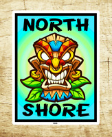"Surf North Shore Hawaii 2.75"" X 3.75"" Sticker Decal Oahu Surfing Tiki"