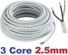 20m Metre Coil 2.5mm WHITE 240v 3 Core Round Flex PVC Cable Reel Wire UK 3183Y