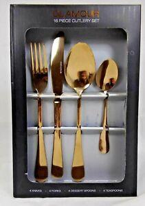 🔥 Sabichi Glamour 16 Piece Stainless Steel Copper Cutlery Set.