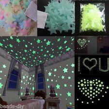 Blue 100PCs Luminous Stars Wall Stickers Home Glow In The Dark Stars Kids Baby