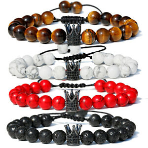 Men's Cubic Zircon Crown Beads Bracelets Natural Tiger Eye Adjustable Bracelets