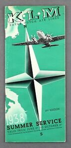 KLM ROYAL DUTCH AIRLINES EUROPEAN TIMETABLE SUMMER 1938